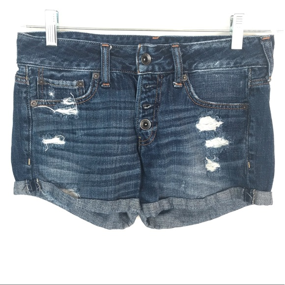 "Abercrombie & Fitch Pants - Abercrombie & Fitch 25"" blue high rise jean shorts"